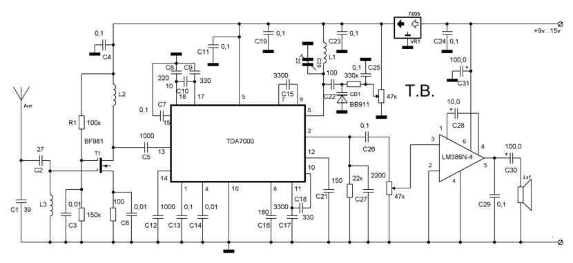 входную цепь TDA7000 через